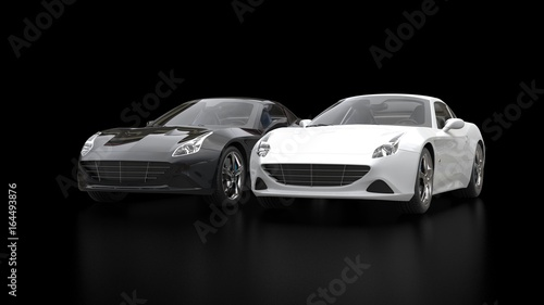 Foto op Canvas Snelle auto s Cool black and white super sports cars