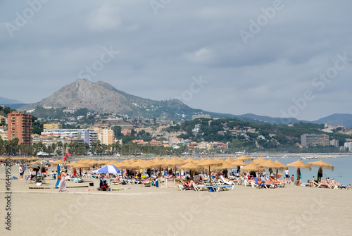 MALAGA, ANDALUCIA/SPAIN - JULY 5 : People Relaxing on the Beach in Malaga Costa del Sol Spain on July 5, 2017. Unidentified people
