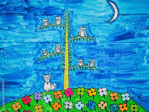 Cartoon owls and a fox on blue wood panel background