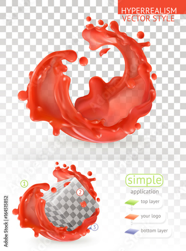 Red paint splash with transparency, 3d realism vector style simple application - 164515852