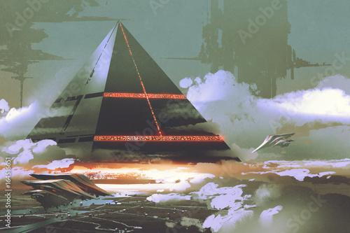 sci-fi scene of futuristic black pyramid floating over earth surface, digital art style, illustration painting