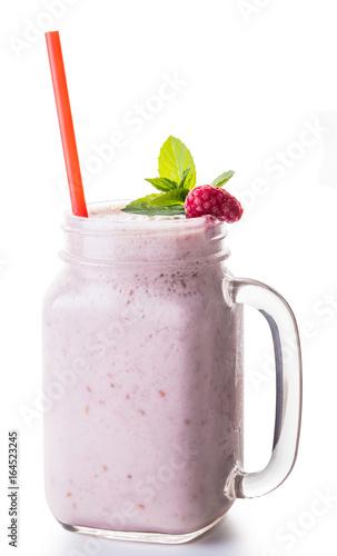 Foto op Plexiglas Milkshake Milkshake fruit in jar with a straw