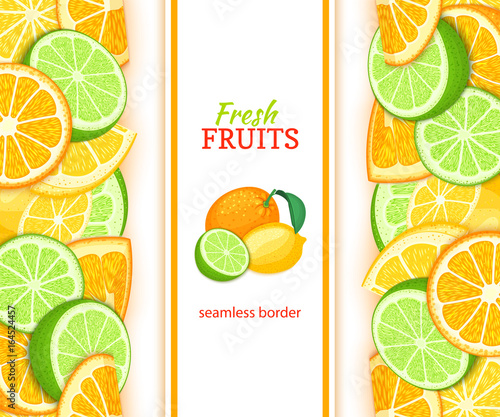 Ripe orange lime lemon vertical seamless border. Vector illustration card with composition Juicy fresh fruits slice, leaf for design tea, ice cream, natural cosmetics, health care products, detox diet - 164524457