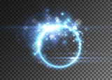 Vector light effect, neon glowing ring, isolated on transparent. - 164531654