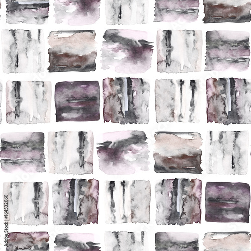 Abstract seamless pattern. Watercolor geometrical print. Hand drawn illustration. Marble tile - 164532060