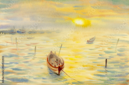 Plakat Watercolor seascape original painting colorful of reflections on the water