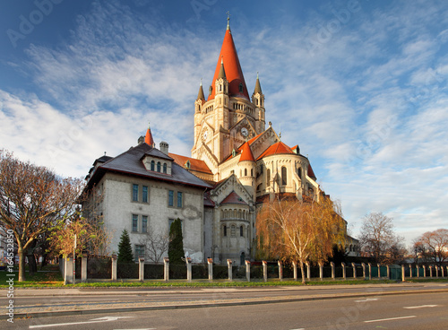 Deurstickers Wenen St. Francis of Assisi Church in Vienna, Austria.
