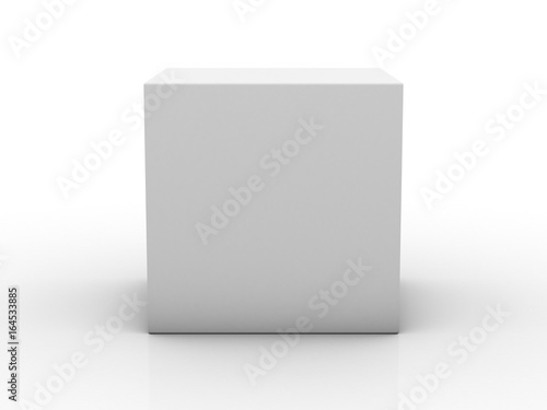 Blank box on white background with reflection. 3D rendering