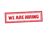 Isolated WE ARE HIRING red stamp seal text message