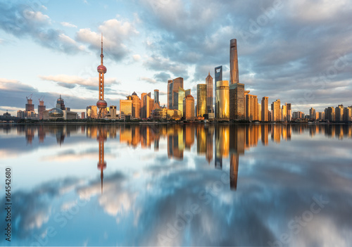 Shanghai skyline,landmarks of Shanghai with Huangpu river at sunrise/sunset in China Poster