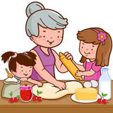 Grandmother and children cooking in the home kitchen