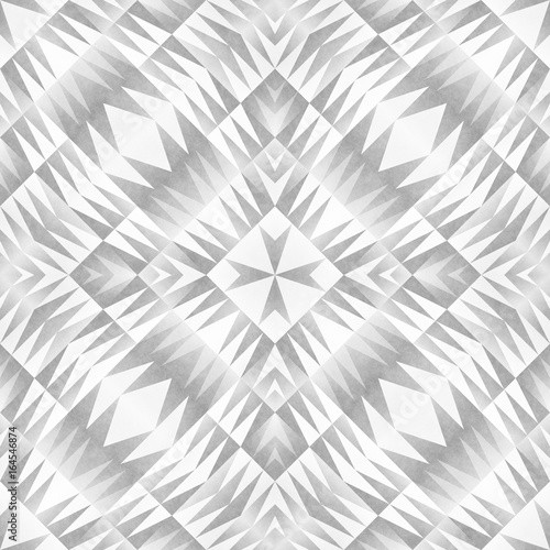 Monochrome Tribal Seamless Pattern. Aztec Style Abstract Geometric Art Print. - 164546874