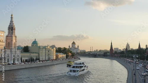 Timelapse, sunset of the river, Kremlin, Russia