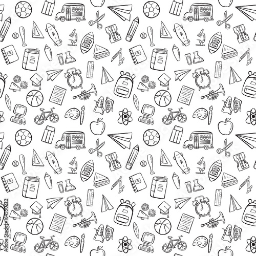 Fototapeta back to school seamless pattern background set