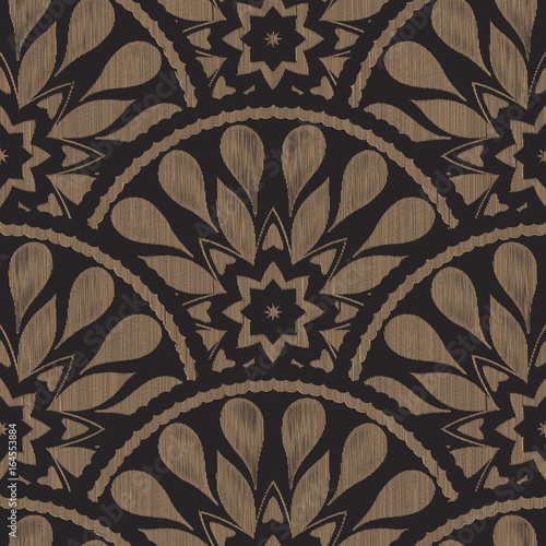 Vector seamless embroidery ethnic pattern with fish scale layout. Brown black drop-shaped elements with line texture background. - 164553884