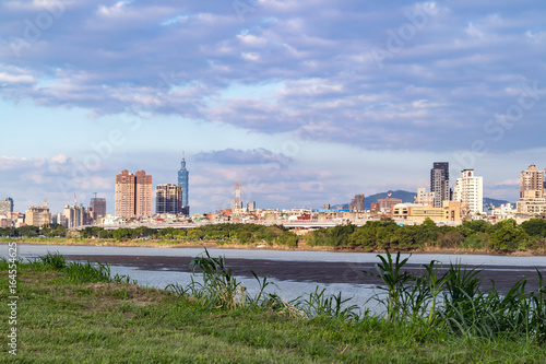 Landscape of Taipei city in Taiwan with beautiful blue sky, City skyline in back Poster