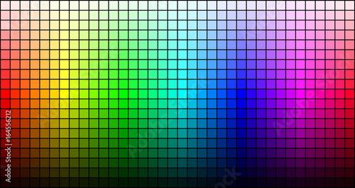 Rainbow mosaic, hue and brightness, on black background. Vector