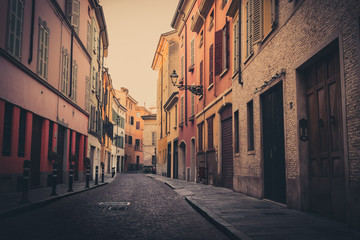 Old street in Parma town, Emilia-Romagna, Italy