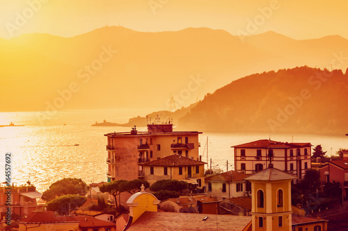 View of sunset landscape, Lerici, Liguria, Italy
