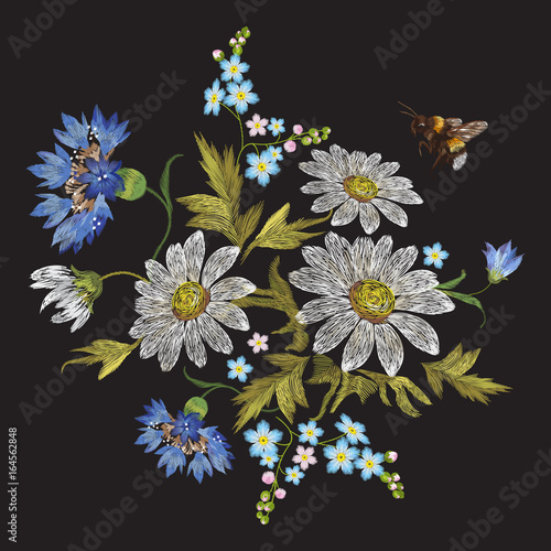 Embroidery trend floral pattern with chamomiles, cornflowers and bee. - 164562848