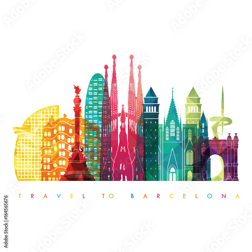 Barcelona skyline detailed silhouette. Travel and tourism background.