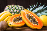 Papaya, pineapple, kiwi, banana, limone fruits.