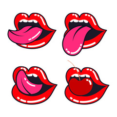 Female lips set. Woman mouth with a tongue, teeth and cherry.