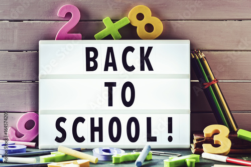 text back to school in a lightbox