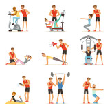 Personal gym coach trainer or instructor set, people exercising under control of personal trainer of vector Illustrations