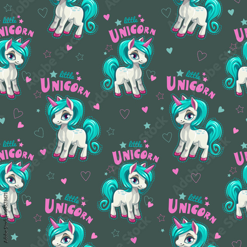 Cute seamless pattern with funny cartoon pony. - 164578671