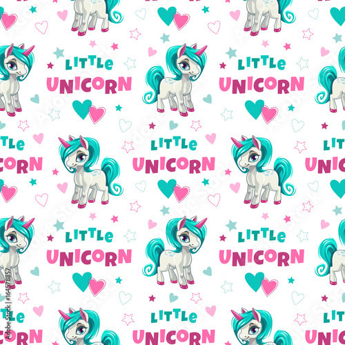 Cute seamless pattern with funny cartoon unicorns - 164578857