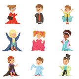 Cute little kids wearing adult oversized clothes set, children pretending to be adults vector Illustrations
