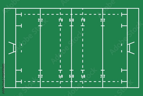 Flat Green Rugby Field Top View Of American Football Field With