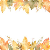 Watercolor banner of leaves and branches isolated on white background. - 164581269