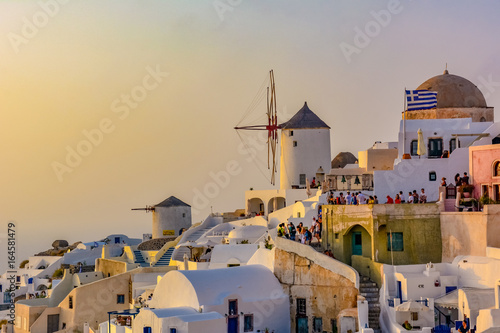 Panorama of Santorini Island in Greece famous for romantic sunsets on the cliff