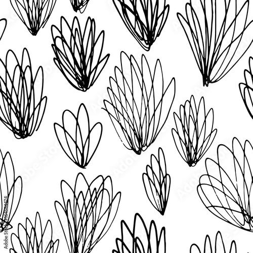 Hand drawn seamless vector pattern with scribbles  - 164584474