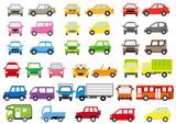 シンプルな車の正面と横(カラー)