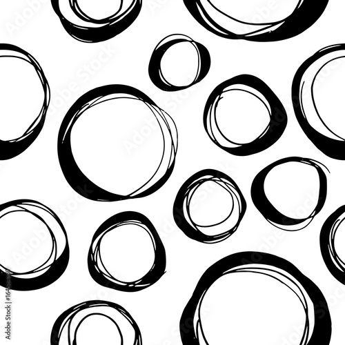 Seamless vector pattern with hand drawn circles - 164584897