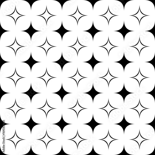 Monochrome seamless geometrical star pattern - vector background graphic from curved shapes