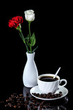 Composition of coffee, white rose and red carnation on a black reflective background