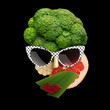 Tasty art / Quirky food concept of cubist style female face in sunglasses made of fruits and vegetables, on black background. - 164606644
