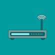flat icon on background Wi fi modem