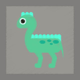 flat shading style icon cartoon dinosaur