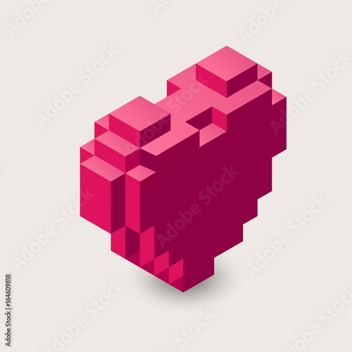 Vector isometric heart illustration. 3d pixel icon.