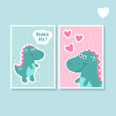 Cute vector cards set with dinosaur. Funny smiling dinosaur. Design background, element. Cartoon characters. Design element. Thank you and love