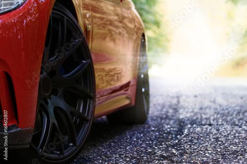 Red sports car плакат
