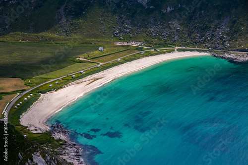 Amazing view towards Haukland Beach on the Lofoten Islands during summer in Norway