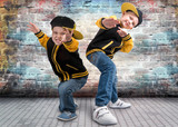 Two brothers dancing break dance.Hip-hop style.The cool kids.
