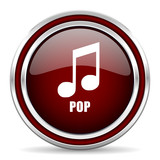 Pop music red glossy icon. Chrome border round web button. Silver metallic pushbutton.