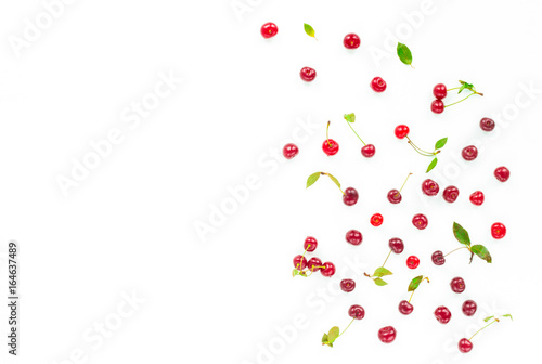 Foto op Aluminium Milkshake Fruit composition. Fresh cherry on white background. Flat lay, top view